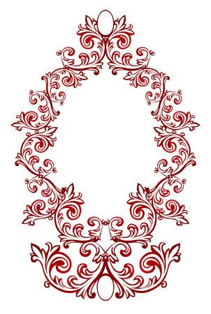 baroque border: Vector illustration of red floral frame Illustration