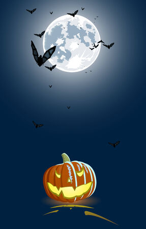Vector illustration of an evil pumpkin on full moon background Vector