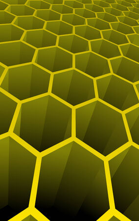 Vector illustration of yellow 3d abstract cells for science or  background Stock Vector - 3417392
