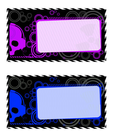 Vector industrial frames with violet and blue skulls Vector