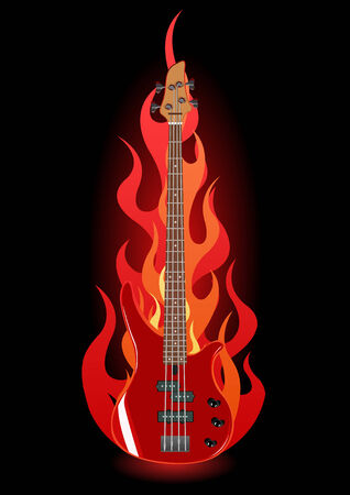 Vector illustration of red bass guitar in flames on black background Vector