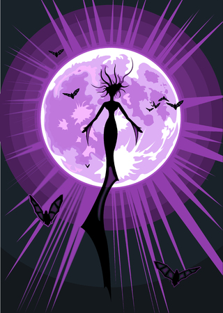 Vector illustration of a flying witch on full moon background Vector
