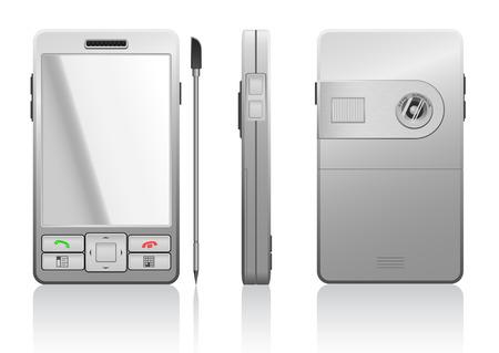 agenda electr�nica: Vector fotorreal�stico ilustraci�n de gris PDA, 3 lados