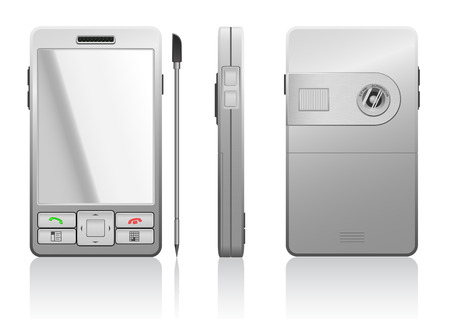Vector photorealistic illustration of gray PDA, 3 sides Vector