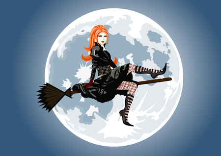 Beautiful witch sitting on broom on full moon background. Lot of details on costume and lingerie