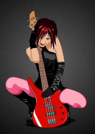 Vector illustration of beautiful rock girl with red bass guitar Vector