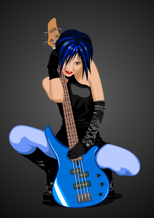pop culture: Vector illustration of beautiful rock girl with blue bass guitar