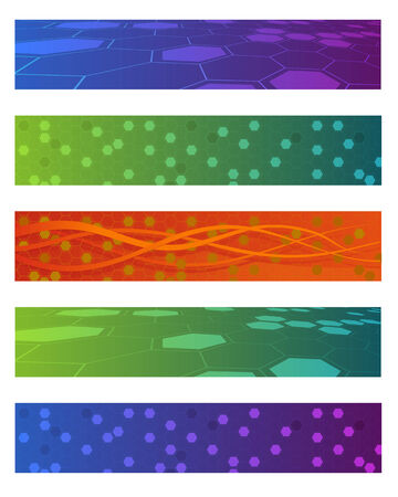 Set of five colored abstract banners Vector