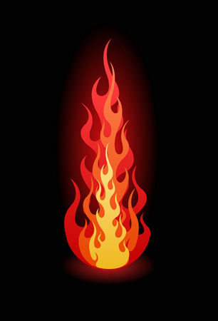 Vector flames on black background Иллюстрация