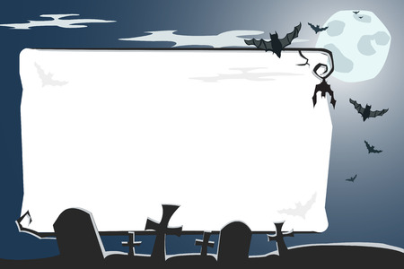 Vector Halloween illustration of a scary night cemetery with full moon and bats