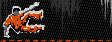 Vector grunge banner with jumping boy and copy-space Vector