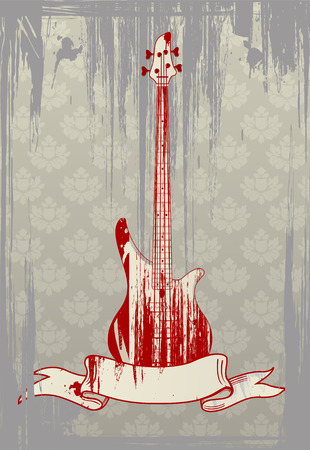 Vector illustration of grungy bass guitar on glamour background  Иллюстрация