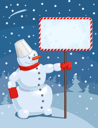 Vector illustration of a Christmas greeting card with snowman Vector