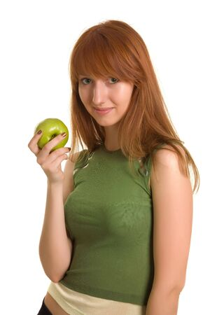 Beautiful girl with green apple isolated on white background photo
