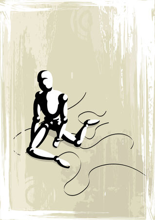 Vector illustration of a lonely dramatic puppet on grunge background Vector