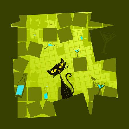 cat illustration: Vector illustration of a funny green  cat Illustration