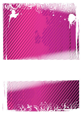 Vector illustration of pink and white grunge floral wallpaper Vector