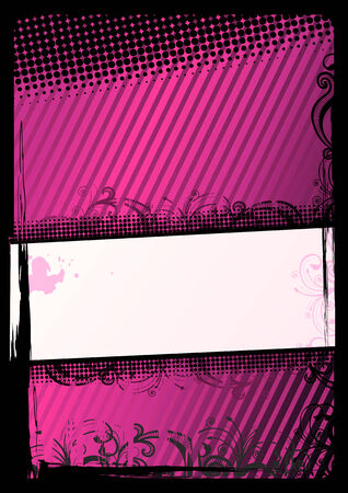 Vector illustration of pink and black grunge floral wallpaper Vector