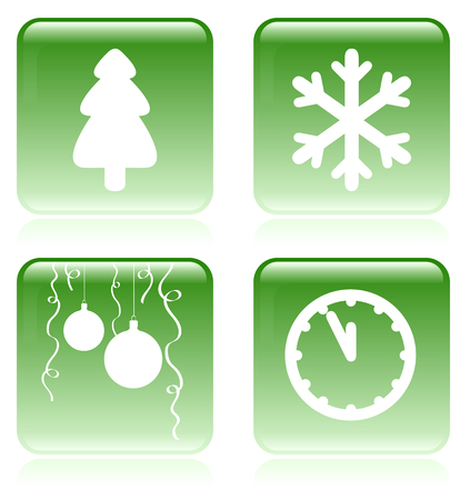 Set of vector green and white Christmas icons Vector