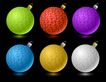 Set of vector colored Christmas balls isolated on black background Vector