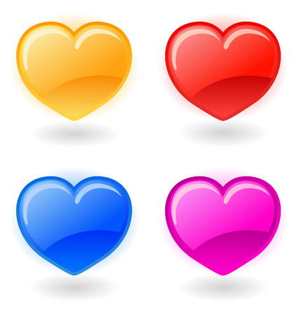 Set of glossy vector hearts on white background Vector
