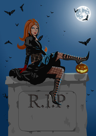Beautiful witch sitting on the tombstone. High detalisation Vector