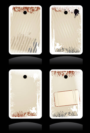 Set of vector beige grunge labels with copy-space