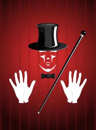 truc: Vector goochelaar op rode glamour achtergrond Stock Illustratie