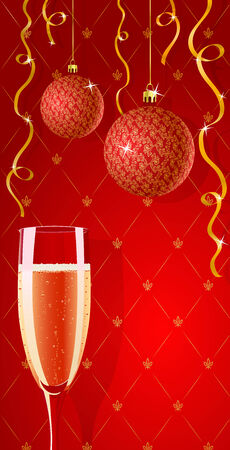 Vector holiday red and gold glamour wallpaper with champagne glass  Stock Vector - 3667748