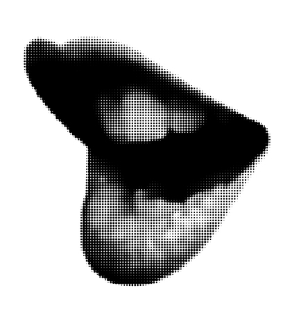 Vector halftone illustration of sexy lips