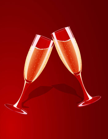 champagne glasses: Vector illustration of champagne glasses splashing on red background