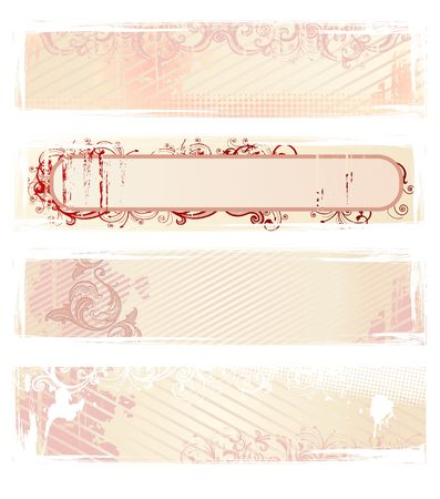 Set of pink grunge floral banners photo