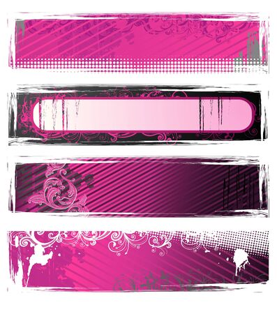 Set of pink and white grunge floral banners photo