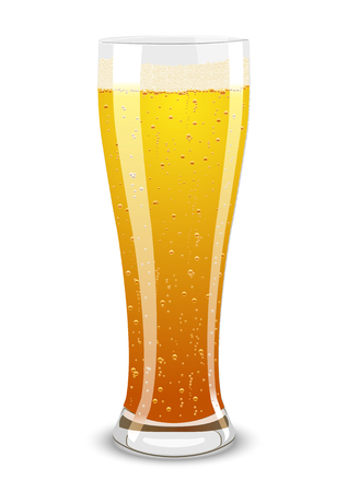 Vector illustration of a beer glass over white background Vector
