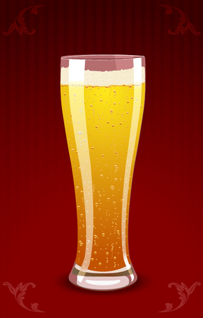 Vector illustration of a beer glass on red floral background Иллюстрация