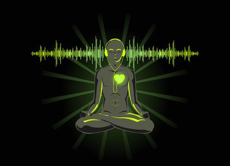 Ilustración vectorial de yoga escuchar su corazón