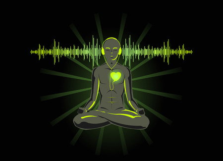 soul music: Vector illustration of yoga listening his heart