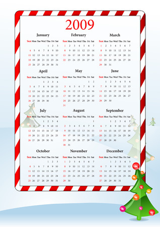 Vector illustration of calendar with Christmas tree   Vector