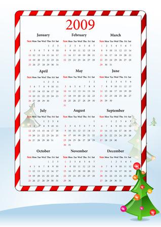 almanac: Vector illustration of calendar with Christmas tree