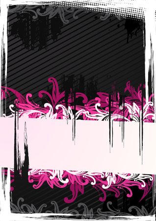 Vector illustration of pink floral wallpaper