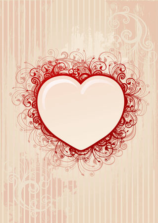 Vector floral pink heart frame Stock Vector - 3739868