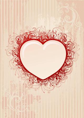 corazon rosa: Vector floral rosa coraz�n marco Vectores