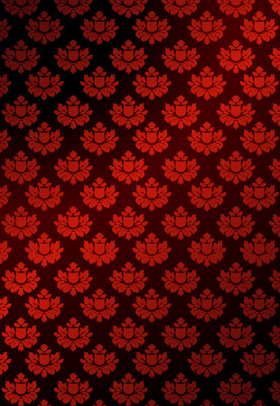 Vector illustration of red floral wallpaper