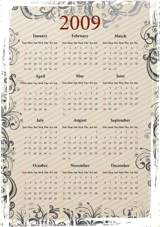 Vector beige floral grungy calendar Stock Vector - 3744162