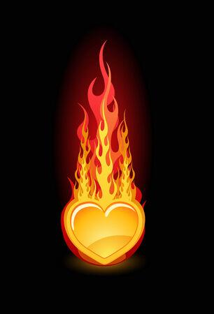 dangerous love: Illustrazione vettoriale di cuore nel fuoco su sfondo nero lucido