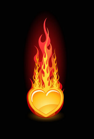 dangerous love: Vector illustration of a glossy heart in fire on black background