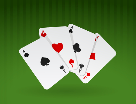 Vector illustration of four cards on green background Vector