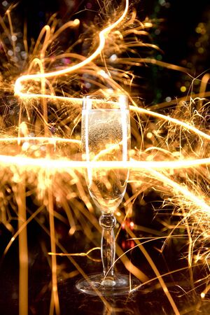 New Year card with champagne glass and sparkles Stock Photo - 3770105