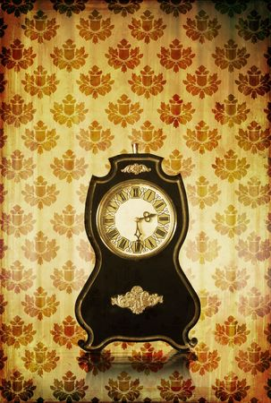 Vintage clocks with scratches on grungy background Stock Photo - 3770106