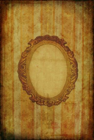 Vintage floral grunge wallpaper with oval frame  photo